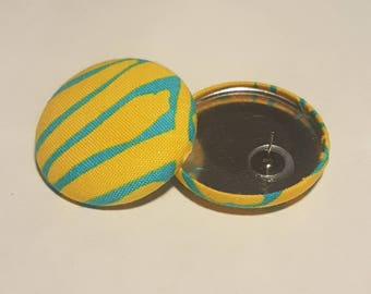 Fabric Covered Button Earrings with Post