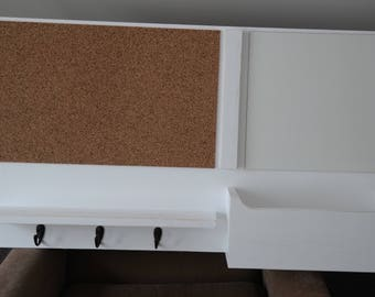 ON SALE Distressed Mail Organizer Message Center Cork Board White Board Dry Erase Board Mail Holder