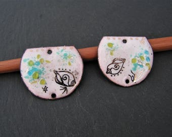 brass charms enameled (hot) connector 2 holes, sea