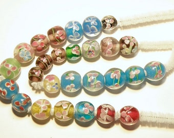 DESTASH -- 27 Assorted Colors Lampwork Glass Beads: Roundish with Flower Design -- Lot 3Q