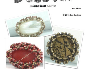 Netted beaded bezel for buttons and cabochon pendant tutorial instructions: Instant Downloadable Pattern PDF File