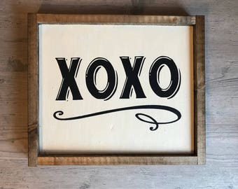 xoxo, hugs and kisses, wood sign, farmhouse style, love you sign