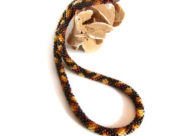 Coffee lover gift Snake Serpent Brown honey beads necklace Crochet bead rope Snakeskin necklace Exotic Wild print Snake leather animal