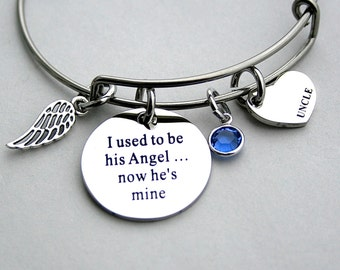 """I Used To Be His Angel Now He's Mine """", Heart Charm UNCLE , Loss Of Uncle , Angel Wing, Remembrance, Niece, Bereavement"""