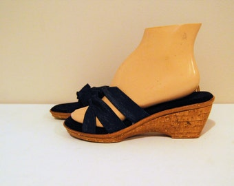Vintage Sandal Navy Strappy Italian Wedge