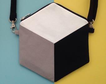 Cube cross body bag, hexagon handbag, monochrome