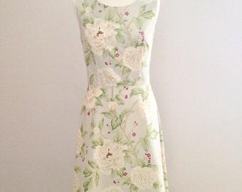 Blue floral dress, bridesmaid dress, Sanderson floral dress, vintage fabric dress, tea dress, wedding guest dress, custom vintage dress