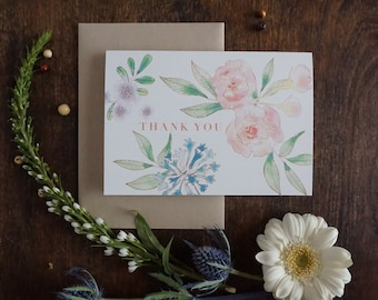 Joyful Watercolor Floral Thank You Note Card