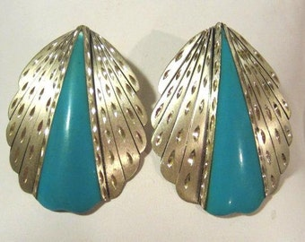 Vintage art deco sterling silver SC blue lucite earrings