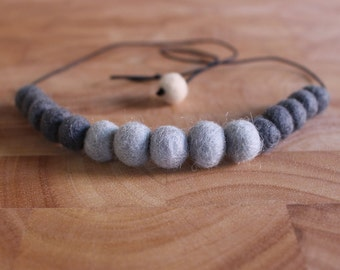 Felt Ball Necklace // Grey on Grey