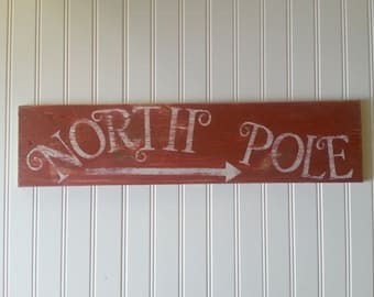 Rustic North Pole Christmas sign/whimsical/holiday