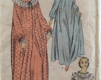 Vintage 50s Long Sleeve Peignoir Embroidery Ruffles Puff Sleeves Nightgown Sewing Pattern 5893 B30