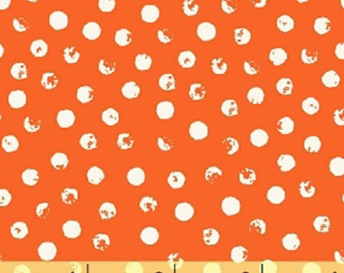 CLEVER DOT - Dots in Tangerine Orange - Polka Dots - Blender Cotton Quilt Fabric - Bread and Butter - Windham Fabrics - 42675-7 (W4689)