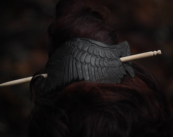 Black Raven Wing Hair Cuff/Pin with Stick