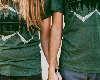 Wanderlust Adventure T-Shirts, Couples Shirts, His and Hers BFF Best Friends Gift, Hiking Camping T Shirts, Crater Lake Matching Shirts Set