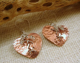 Copper and Sterling Silver Broken Mended Heart Earrings, Broken Mended Heart Earrings