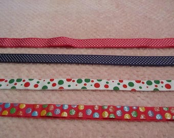 4 Yards/ One of Each Color Polka Dot Grosgrain Ribbon
