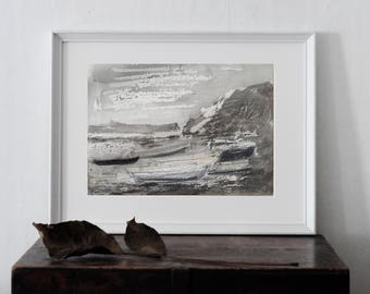 Landscape wiht boats  Painting, Mixed media art, Fine art, Print of original  drawing,  Fine art  Painting, Giclee print