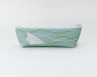 Paper Airplane Pencil Case - Mint Green Zipper Pouch - Green Makeup Bag Back to School Supply Mint Green