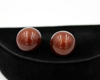 Lucite Button Earrings, Brown Moonglow, ca. 1950s, Vintage Earrings