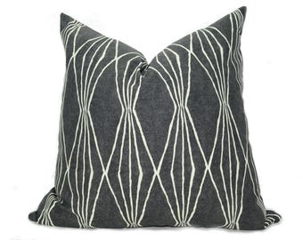 charcoal grey pillow cover // grey pillow cover // charcoal grey cushion // geometric pillow