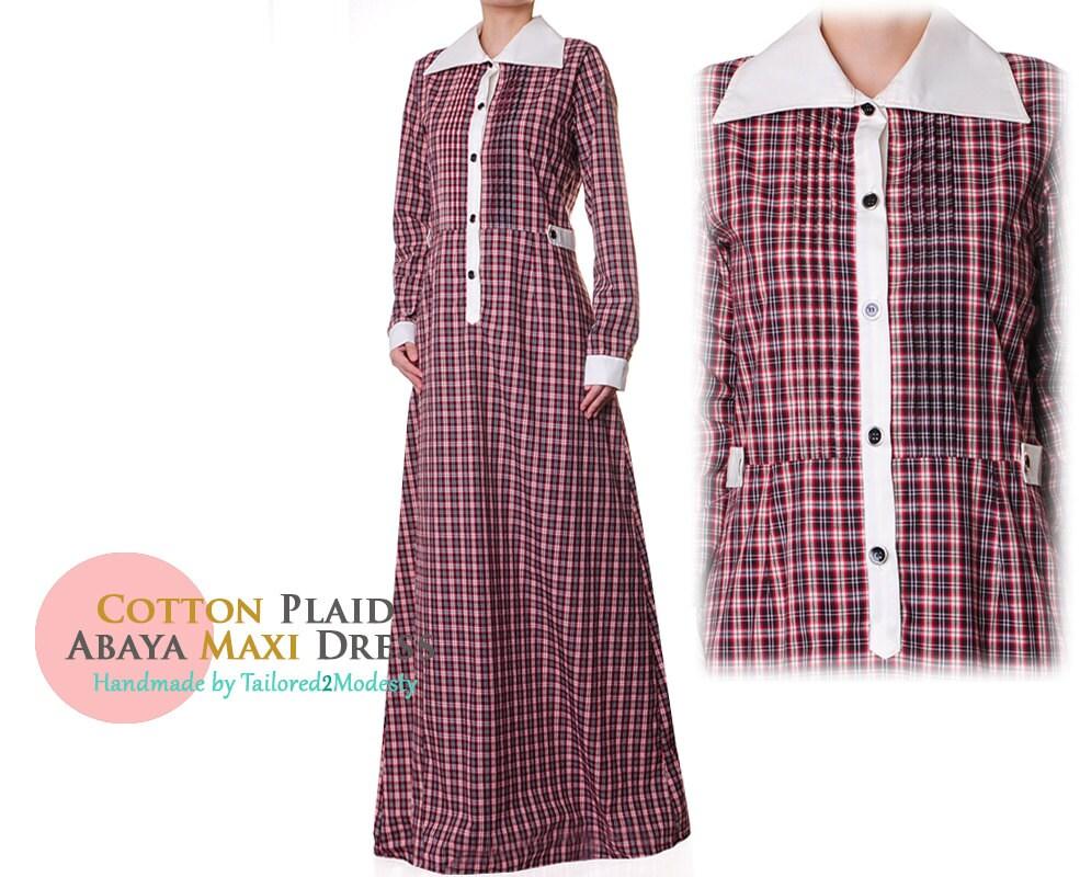 Cotton Plaid Dress Brown Tartan Dress Plaid Abaya Maxi