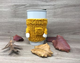 Mug Warmer - Mustard Yellow Knitted Sweater with Pocket Detail Mug Warmer - Starbucks Mug Warmer with Hands