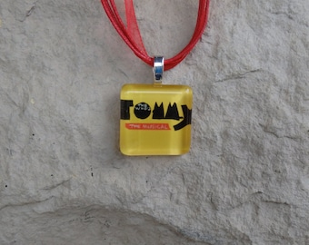 Broadway Musical The Who's Tommy Glass Pendant and Ribbon Necklace