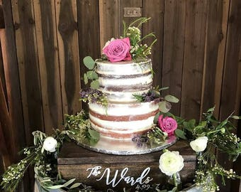 rustic wedding cake display ideas wood cake stand etsy 19530