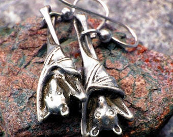 Sleepy Bat Earrings Halloween in Sterling Silver Jewelry Bat Jewelry