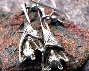Sleepy Bat Earrings Halloween in Sterling Silver Jewelry Bat Jewelry