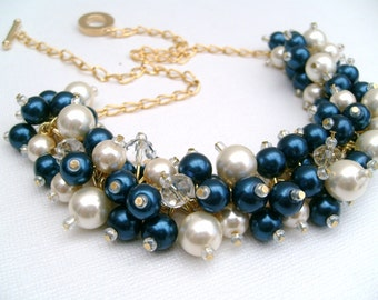 Wedding Jewelry, Chunky Pearl Beaded Necklace, Midnight Blue and Ivory, Bridal Jewelry, Navy Wedding Theme, Cluster Necklace Chunky Necklace