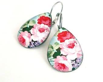 Flower earrings dangle Flower dangle earrings Pink peony earrings Pink flower earrings Flower lover gifts Floral earrings Gift for Her