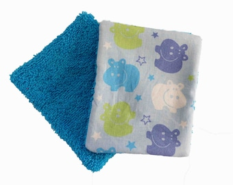 Washable wipes, cotton and sponge pattern hippos, set of 10