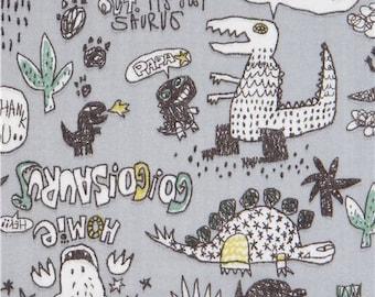 218801 grey double gauze with dinosaur animal word fabric from Japan