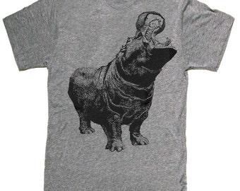 Mens unisex T-shirt ---- Hungry Hippo ---- sizes sm med lg xl xxl 3xl, 4xl, 5xl skip n whistle
