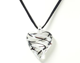 Black and White Swirled Glass Heart Necklace, Fused Glass, Lampwork, Stained Glass