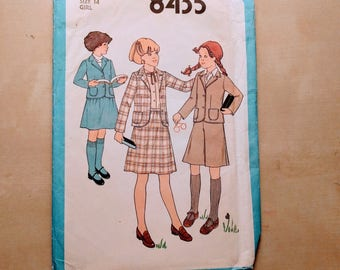 Vintage Simplicity 8435 Girls Unlined Jacket, Skirt & Culottes Sewing Pattern for Girls, 1970s Girls Sewing Pattern DIY, Size 14