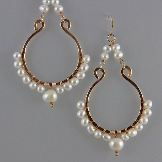 Hand-formed and hammered Bronze Chandelier Earrings with gemstones and pearls