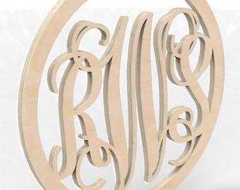 "3 Letter Monogram Door or Wall Hanger w Circular Frame 12"" tall Custom Made."