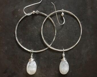 Moonstone sterling silver hoop earrings