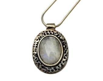 Rainbow Moonstone Necklace, Moonstone Pendant, Small Moonstone Pendant, Moonstone Necklace Silver, Moonstone Jewelry, June Birtshtone Gift