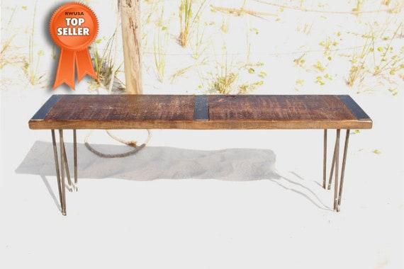 Wood And Metal Bench Reclaimed Wood Bench Industrial
