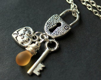 Lock Necklace. Silver Lock Charm Necklace with Heart and Key Charms. (Personalized Teardrop Color) Handmade Jewelry.