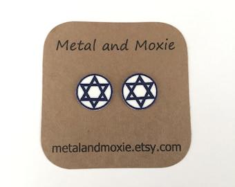Star of David Stud Earrings, Judaism, Jewish, Hebrew, Religious,  Under 10 Dollars Jewelry Gift