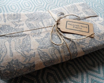 Linwood Block Printed Linen Fabric with a co-ordinating blue cotton woven fabric