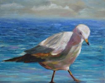 Seagull original oil painting, water bird wall decor, coastal beach painitng, 40x40 cm canvas
