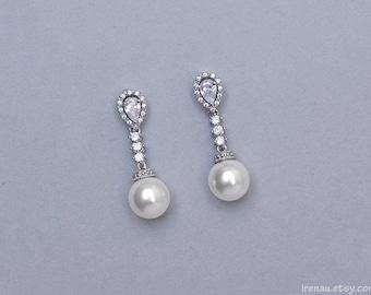 Bridal pearl earrings, CZ crystal pearl earrings, Wedding pearl drop earrings Swarovski teadrop white or cream pearls Silver bridal jewelry