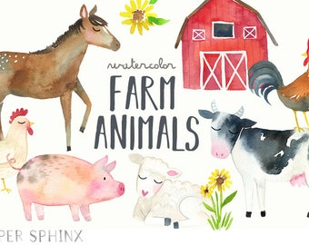 Watercolor Farm Animals Clipart   Farm Clip Art - Cow, Horse, Duck, Chicken, Rooster, Goat, Pig - Baby Shower, Scrapbooking