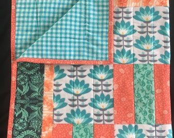 Bright Modern Floral Baby Blanket, Baby Quilt, Stroller Quilt, Teal and Coral